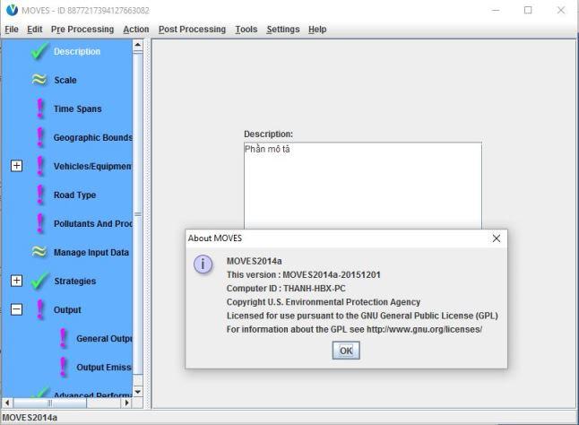 giao diện Phần mềm mô phỏng phát thải