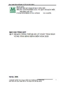 Báo cáo Tổng Hợp Quy Hoạch Tổng Thể Quản Lý Chất Thải Rắn Vùng Tỉnh Bình Định Đến Năm 2020