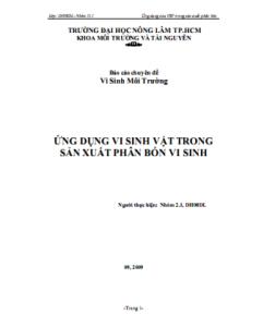 Báo cáo Chuyên đề Vi sinh Môi trường - Ứng Dụng Vi Sinh Vật Trong Sản Xuất Phân Bón Vi Sinh